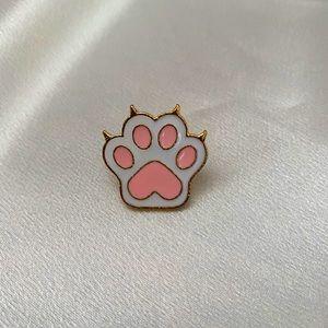 🐾 Cute Pink Cat Dog Paw Metal Enamel Pin 🐾